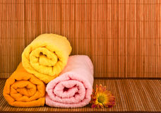 Spa style Towel with Bamboo Royalty Free Stock Photography