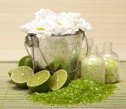 Spa supplies - bath salt Royalty Free Stock Photography