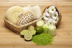 Spa supplies - bath salt and massage tools. Flowers, sponge, bath salt and massage tools stock images