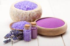 Spa supplies - lavender salt Stock Photo