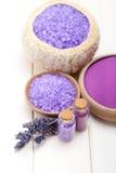 Spa supplies - lavender salt Stock Images