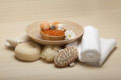 Spa supplies - massage tools. And bath salt stock images