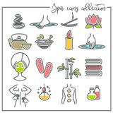 Spa symboler skönhet och rekreationskincare och massage vektor illustrationer