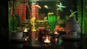 Spa tea still life naturmort with aquarium background stock footage