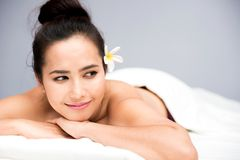 Spa and Thai massage. Beautiful woman relaxing and healthy of aromatherapy Royalty Free Stock Images