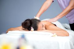 Spa and Thai massage. Beautiful woman relaxing and healthy of aromatherapy Stock Photography