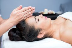 Spa and Thai massage. Beautiful woman relaxing and healthy of aromatherapy Stock Photo