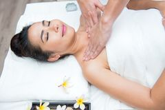 Spa and Thai massage. Beautiful woman relaxing and healthy of aromatherapy Stock Photos