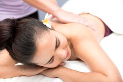 Spa and Thai massage. Beautiful woman relaxing and healthy of aromatherapy Royalty Free Stock Image