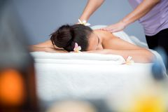 Spa and Thai massage. Beautiful woman relaxing and healthy of aromatherapy Stock Images