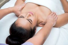 Spa and Thai massage. Beautiful woman relaxing and healthy of aromatherapy Royalty Free Stock Photo