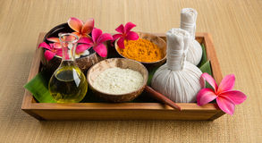 Spa theme objects. With frangipani flower, compress balls, Herbs scrub, foot massage tool Stock Image