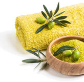 Spa theme with olives Royalty Free Stock Photo