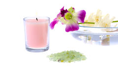 Spa theme with pink candle Stock Photo