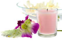 Spa theme with pink candle Royalty Free Stock Photo