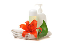 Spa  theme with red lily Stock Photos