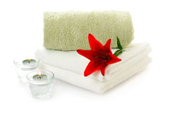 Spa  theme with red lily Royalty Free Stock Photos
