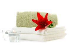 Spa  theme with red lily Royalty Free Stock Images