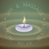 SPA theme vector illustration with candle. SPA theme vector illustration with candle on a green background Stock Image