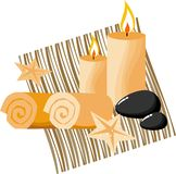 Spa therapy. Scented candles and basalt stones for spa therapy royalty free illustration