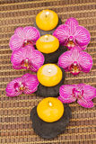 Spa therapy event with burning candles Stock Photography