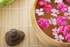 Spa therapy, flowers in water, on a bamboo mat. Stock Image