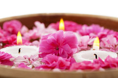 Spa therapy, flowers in water with candles Royalty Free Stock Photography