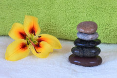 Spa therapy. Hot stones massage set up Stock Photos