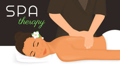 Spa therapy. Illustration of woman getting a massage on her back Royalty Free Stock Photography