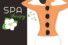 Spa therapy. Illustration of woman relaxing with black stones on her back Stock Photos
