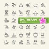 SPA therapy massage cosmetics elements web icon set - outline icon set royalty free illustration