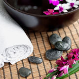 Spa therapy with orchids and  stones Royalty Free Stock Photo