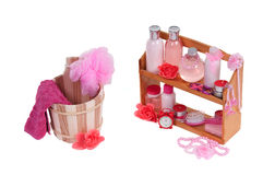 Spa therapy-sauna bucket and bodycare cosmetics Stock Image