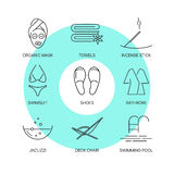 Spa thin line icons set Royalty Free Stock Photo