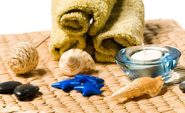 Spa things on a wooden basket Royalty Free Stock Photography