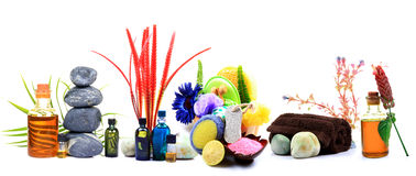 Spa time. Beautiful shot of spa items and oils over white background Stock Photo