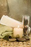 Spa Time. Spa aromatherapy collection on brown print Royalty Free Stock Image