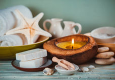 Spa toiletries, soap, oil Royalty Free Stock Photo