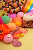 Spa tools & accessories, bath towels, natural soap, bath bombs,. Bath towels, naural soap, bath bombs, sponge royalty free stock photo
