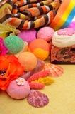 Spa tools & accessories, bath towels, natural soap, bath bombs, Royalty Free Stock Photo