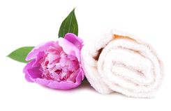 Spa towel with flower Royalty Free Stock Photography
