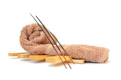 Spa towel. With incense sticks Royalty Free Stock Images