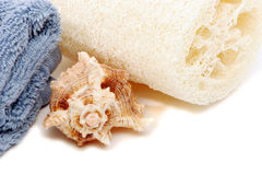 Spa towel, loofah and seashell Stock Images