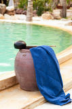 Spa towel near the swimming pool.  Stock Image