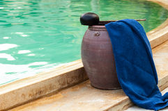 Spa towel near the swimming pool.  Stock Photo