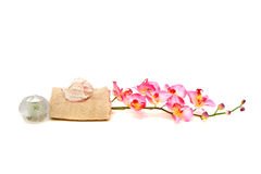 Spa towel and orchid Stock Photos