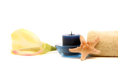 Spa towel, orchid, candle and starfish Stock Images