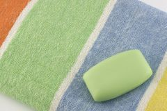 Spa towel and soap Royalty Free Stock Images