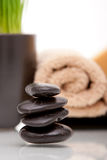 Spa towel, soap and wheatgrass Stock Photo