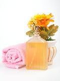 Spa towels. On isolated background with flower pot royalty free stock photos